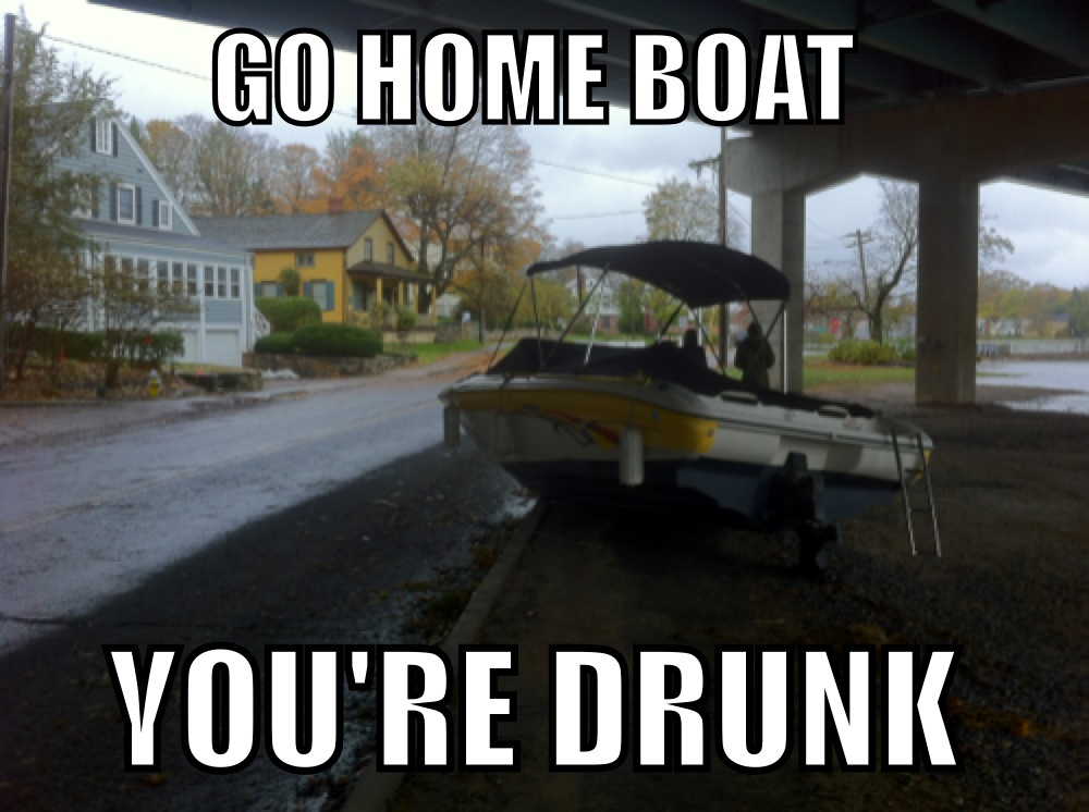 Hurricane Sandy would drive many sane boats to drink.